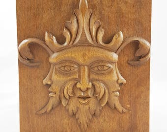 3 faces Low relief wood carving