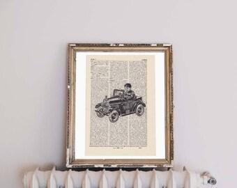 Print TOY CAR - antique book page - portrait