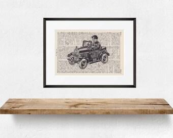 Print TOY CAR - antique book page - landscape