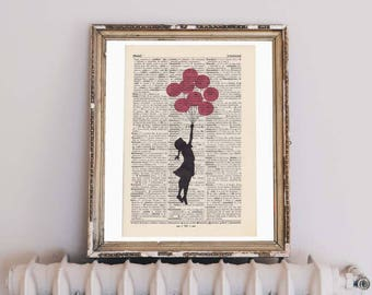 Print - BANKSY - FLYING GIRL in red - antique book page