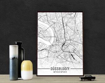Düsseldorf-Just a map-din A4/A3-Print
