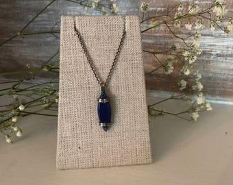 lapis, gemstone, silver petite necklace