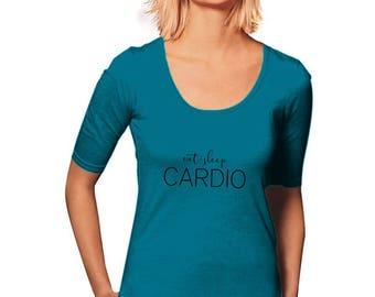 Eat Sleep Cardio T-Shirt - Workout T-Shirt - New Years Resolution - Women's T-Shirt - Women's Graphic Tee - Gym Tee - Sporty Tee