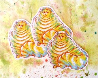 "Very Fuzzy Cat 2.7"" handmade sticker"