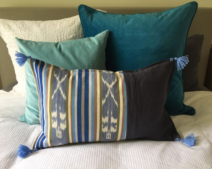 Fair Trade Artisan Blue Ikat Stripe Textile + Charcoal Washed Eco Friendly Linen + Australian Merino Wool Tassels Lumbar Cushion Cover