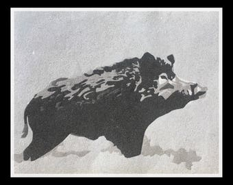 """Painting in black and white sand """"boar"""" hunting"""