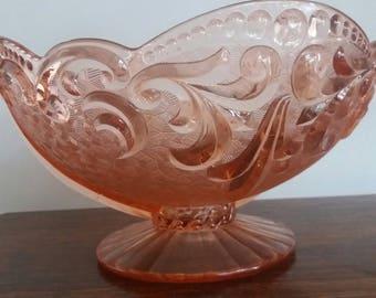Huge vintage pink glass bowl, mid century, retro