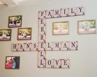 Scrabble Letters // Custom Words // Family // Children's names // Wedding Gift