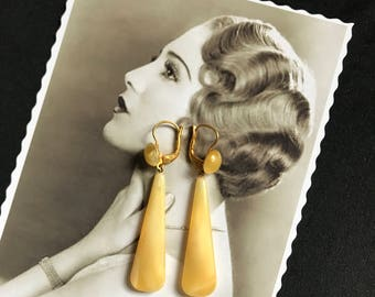 1920 French Antic Vintage Art Deco Pendants Earrings in yellow crystal - Roaring 20s - Flapper