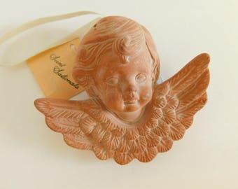 VINTAGE Terra Cotta Angel Scent Sational / Pomander Hanging Angel, Cherub ceramic terra cotta figurine scent Essential Oils Aromatherapy