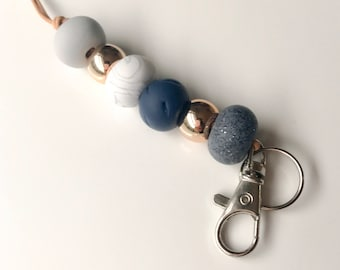 Navy, rose gold and granite beaded lanyard, key chain