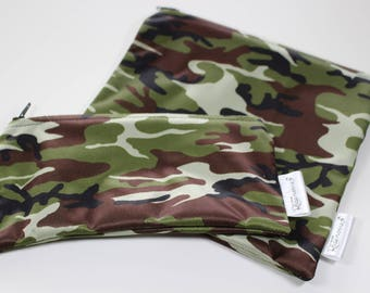 Army patterns: bags snack, sandwich bags, washable, reusable, eco-friendly, minimalist