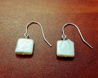 Beautiful and Lustrous Square Shape Genuine Freshwater Pearl Earrings