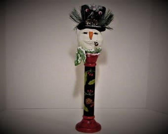 Snowman Head, OOAK Art Bust, Handmade Art by Sherry Harrison