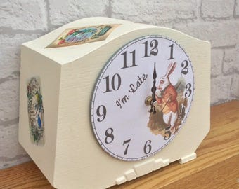 Alice In Wonderland Clock, Alice Wonderland, Mantle Clock, White Rabbit Clock, Mad Hatter, Alice Home Decor, Wonderland Decor, Cream Clock