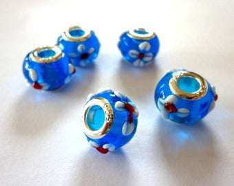 Lamp Work Blue Glass with Flower Beads for European Charm Bracelets - H610