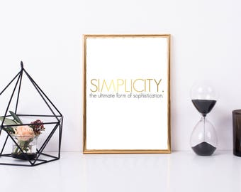 Simplicity Quote, Simplicity Printable Quote, Printable Art, Digital Art, Simple Life, Simplified Life quote, Framed Quote, Gift Idea