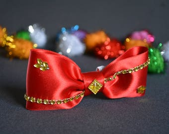 cat bow tie - red satin bow tie for cat collars - fancy cat bow tie