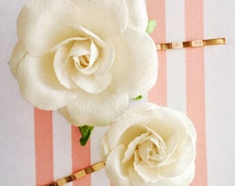 Set of 2 White water roses bobby pins from the Mommy + Me collection