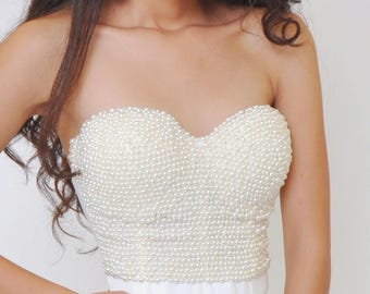 Pearl-tone Beads with Ivory Microfiber Convertible Bustier Top Size Small