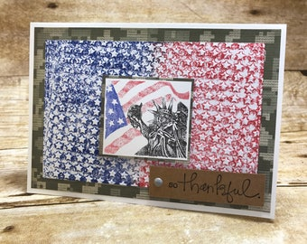 So Thankful Statue of Liberty July 4th Patriotic card