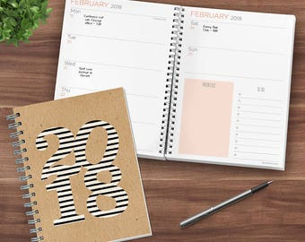 Striped Kraft 2018 Daily Weekly Monthly Planner Agenda