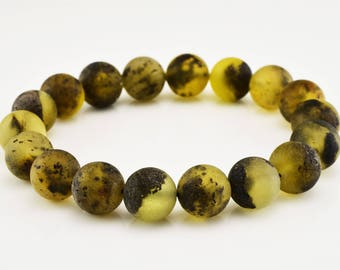 Unpolished Natural Baltic Amber Raw Healing Round Beads Bracelet Gift For Him
