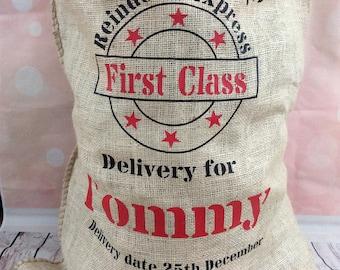 10 Promotional santa sacks with business name xmas sack present bag hessian sack