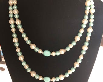 layered necklace - beaded necklace - Faux pearls - bead necklace - multi strand necklace - chic necklace - gift for her