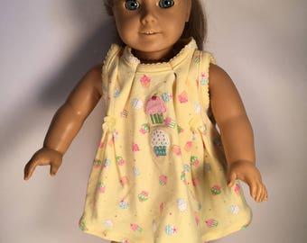 18 inch doll dress. Yellow cupcake