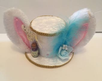White Bunny Mini top hat Alice in wonderland Mad Hatter Hat