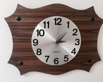 Mid-Century Retro Wood and Silver Clock