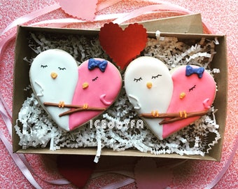 Pre Order Lovebird Valentines Cookies| Sugar Cookies |Valentineu0027s Day  Cookies