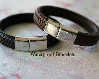 Mens Bracelet - Mens Personalised Bracelet - Custom Engraved Leather Bracelet
