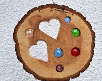 Sun catcher Heart 15 cm-Oak