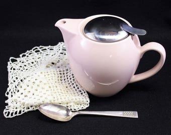 Round Pink Ceramic Tea Pot  Hallmarked Japan