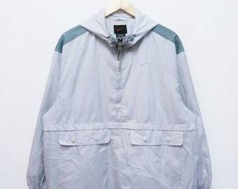 Hot Sale!!! Rare Vintage 90s NIKE Designer Embroidery Logo Spell Half Zip Windbreaker Jacket Hip Hop Swag Large Size