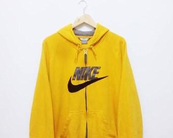 Hot Sale!!! Rare Vintage NIKE Big Embroidery Logo Zip Hoodie Sweatshirt Hip Hop Skate Large Size