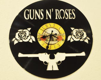 Guns N Roses Band themed Vinyl Album Record Clock made in the > USA < with FREE Shipping!
