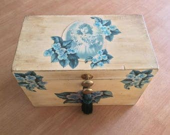 Vintage decoupage wooden sewing box
