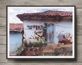 Mazamitla Dog, Old House with Dog, Mazamitla Jalisco Mexico,                Instant Download,Mazamitla Wall Art, Wall Decor, Printable Art