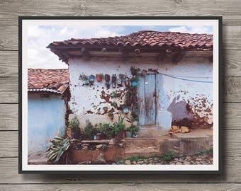 Mazamitla Dog, Old House with Dog, Mazamitla Jalisco Mexico,                Instant Download,Mazamitla Wall Art, Wall Decor, Printable Art
