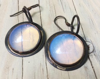 round copper opalene earrings