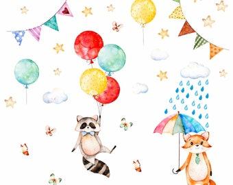 075 wall decals raccoon and Fox balloon