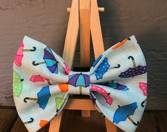 Umbrella Dog Bow Tie, Rainy Day Dog Bow Tie