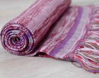 Loop scarf hand-woven scarf purple wool scarf