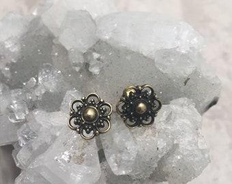 Brass flower mandala stud earrings