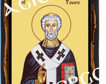 Saint Martin of Tours Bishop and Confessor Roman Christian Catholic Wood Icon Plaque