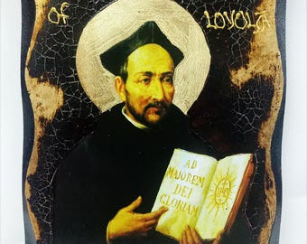 Saint Ignatius of Loyola Handmade Wood Icon on plaque with physical aging and Golden Leaf 24K
