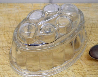 Vintage jelly mould, Czech glass 12 fl oz, oval glass jello mold, made in Czechoslovakia 1950s. Kitchenalia collectible blancmange mold SOLD